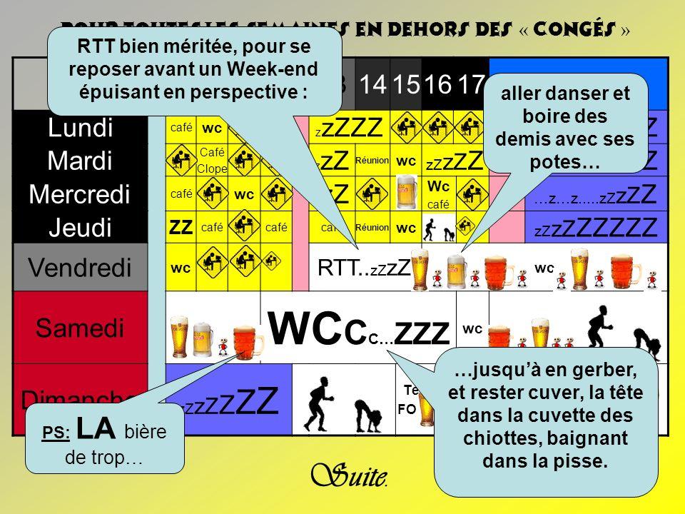 8910111314151617 Lundi café wc z zZZZ zZ zZ ZZZZZ Mardi Café Clope z zZ Réunion wc zZ zZ Z zZ zZ ZZZZZ Mercredi café wc z zZ Wc café …z…z.....zZ zZ Z
