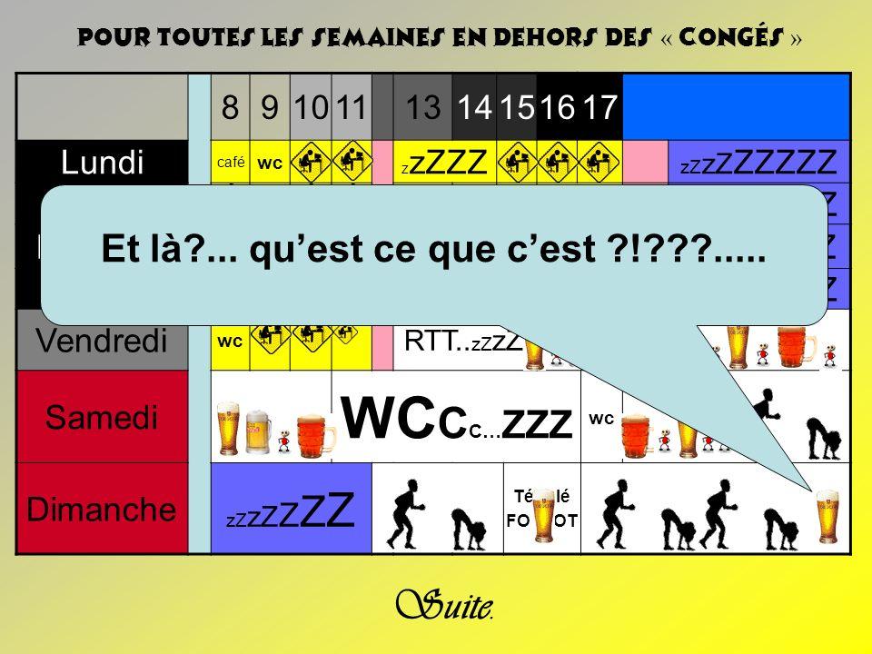 8910111314151617 Lundi café wc z zZZZ zZ zZ ZZZZZ Mardi Café Clope z zZ Réunion wc zZ zZ Z zZ zZ ZZZZZ Mercredi café wc z zZ Wc café …z…z.....zZ zZ Z Jeudi ZZ café Réunion wc zZ zZ ZZZZZ Vendredi wc RTT..