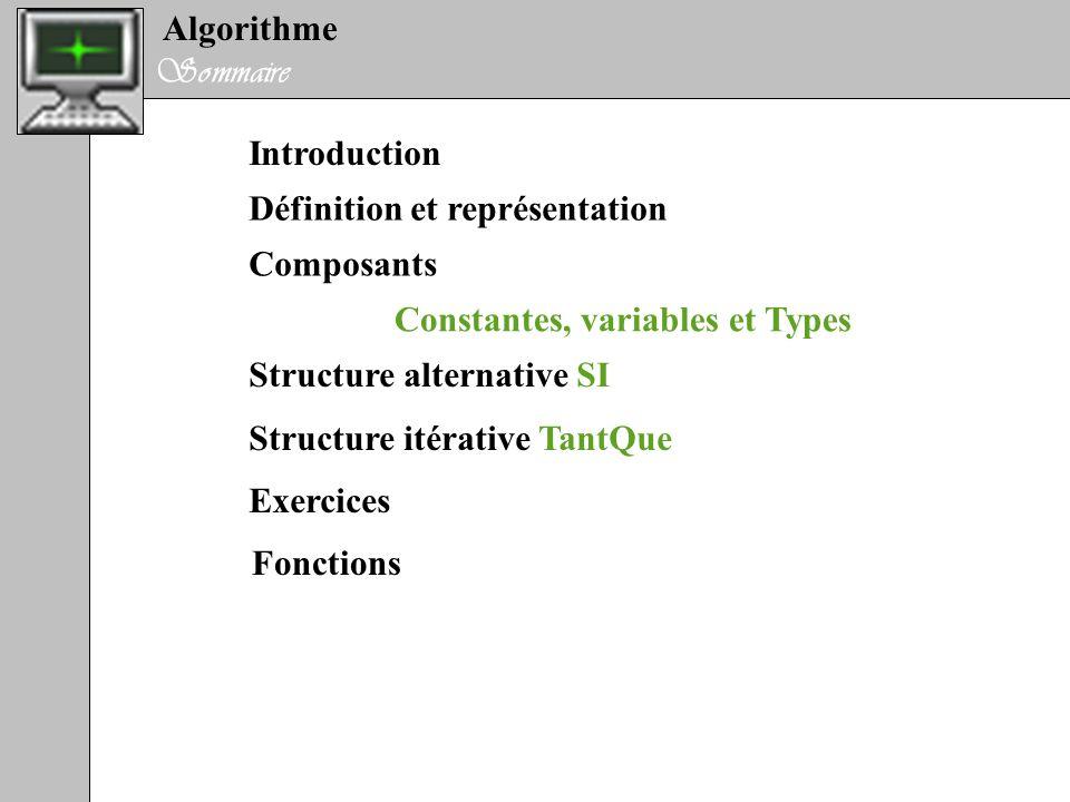 Algorithme Sommaire Introduction Définition et représentation Composants Structure itérative TantQue Structure alternative SI Exercices Constantes, va