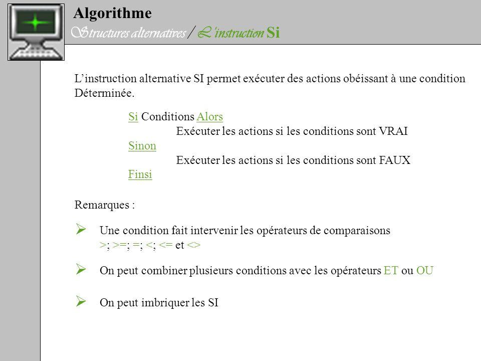 Algorithme Structures alternatives / Linstruction Si Linstruction alternative SI permet exécuter des actions obéissant à une condition Déterminée. Si