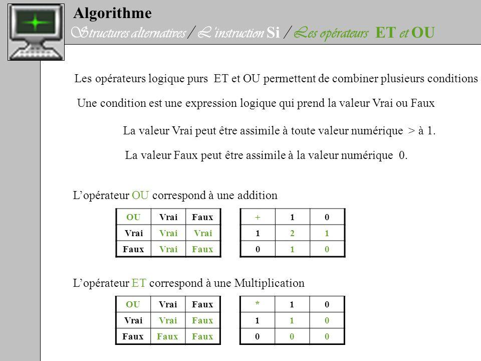 Algorithme Structures alternatives / Linstruction Si / Les opérateurs ET et OU Les opérateurs logique purs ET et OU permettent de combiner plusieurs c