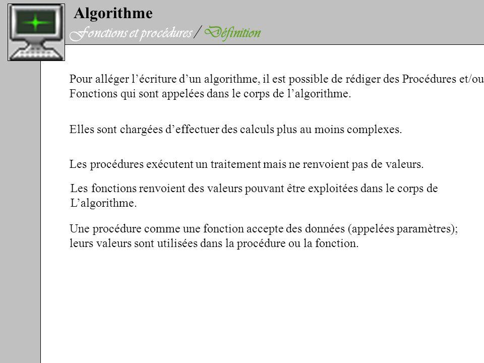 Algorithme Fonctions et procédures / Définition Pour alléger lécriture dun algorithme, il est possible de rédiger des Procédures et/ou Fonctions qui s
