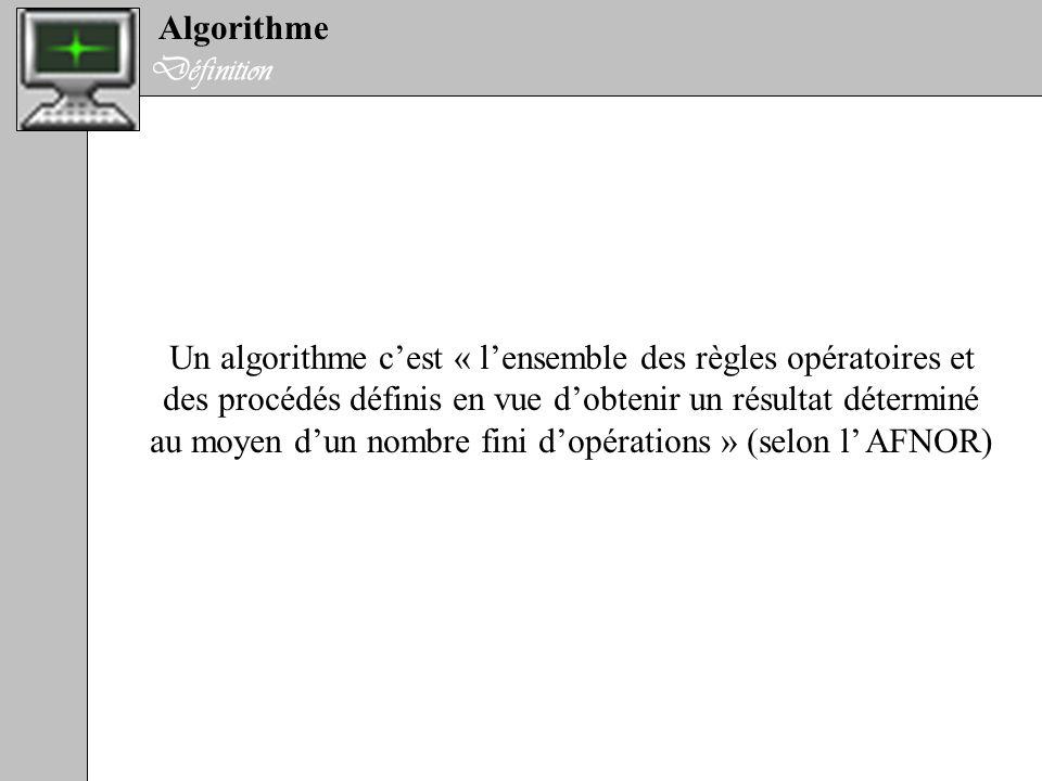 Algorithme Définition Un algorithme cest « lensemble des règles opératoires et des procédés définis en vue dobtenir un résultat déterminé au moyen dun