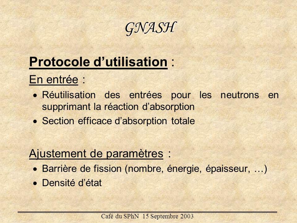 GNASH Protocole dutilisation : En entrée : Réutilisation des entrées pour les neutrons en supprimant la réaction dabsorption Section efficace dabsorpt