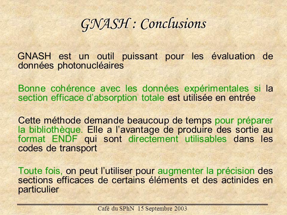 GNASH : Conclusions GNASH est un outil puissant pour les évaluation de données photonucléaires Bonne cohérence avec les données expérimentales si la s