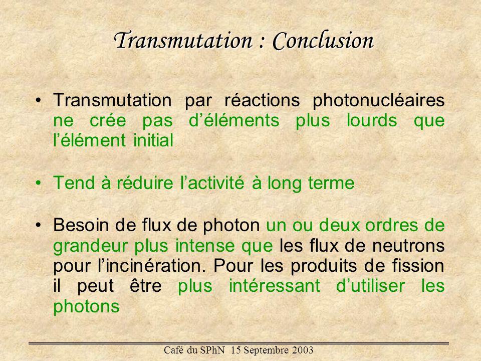 Transmutation : Conclusion Transmutation par réactions photonucléaires ne crée pas déléments plus lourds que lélément initial Tend à réduire lactivité