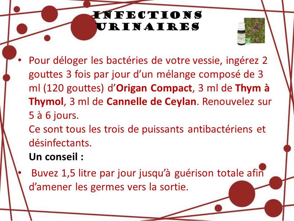 Infections Urinaires Pour déloger les bactéries de votre vessie, ingérez 2 gouttes 3 fois par jour dun mélange composé de 3 ml (120 gouttes) dOrigan C