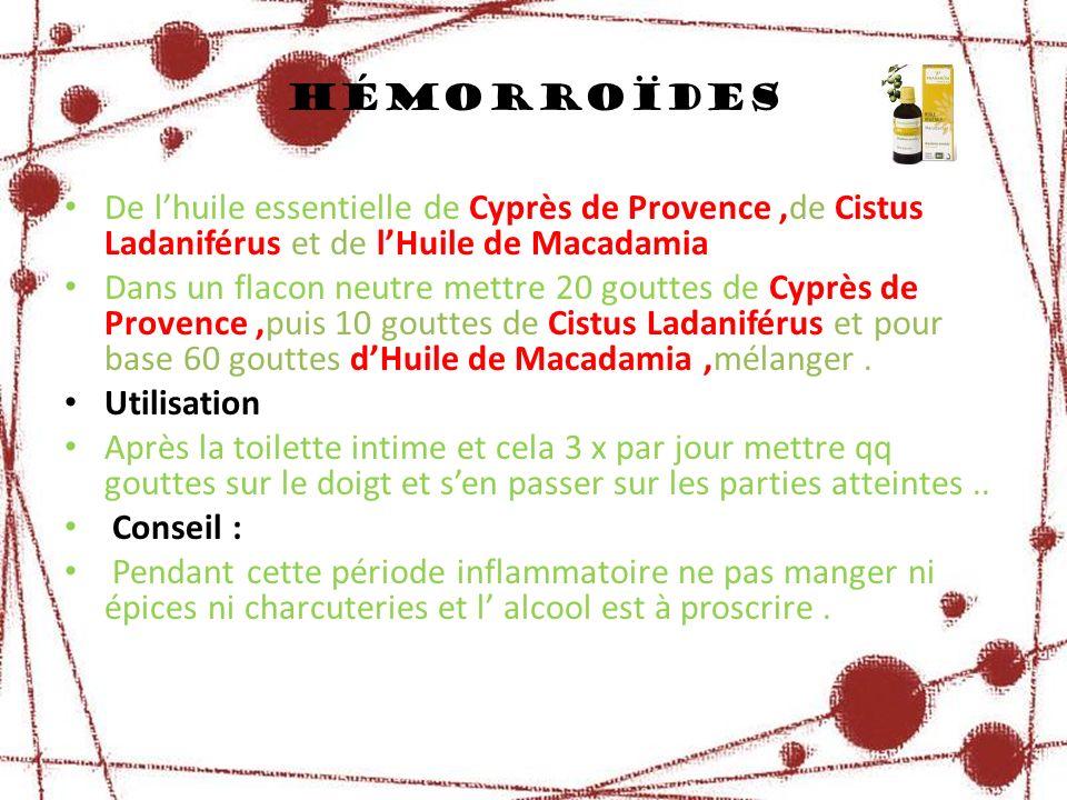 De lhuile essentielle de Cyprès de Provence,de Cistus Ladaniférus et de lHuile de Macadamia Dans un flacon neutre mettre 20 gouttes de Cyprès de Prove
