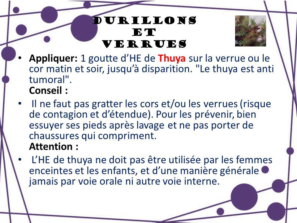 Durillons et Verrues Appliquer: 1 goutte dHE de Thuya sur la verrue ou le cor matin et soir, jusquà disparition.