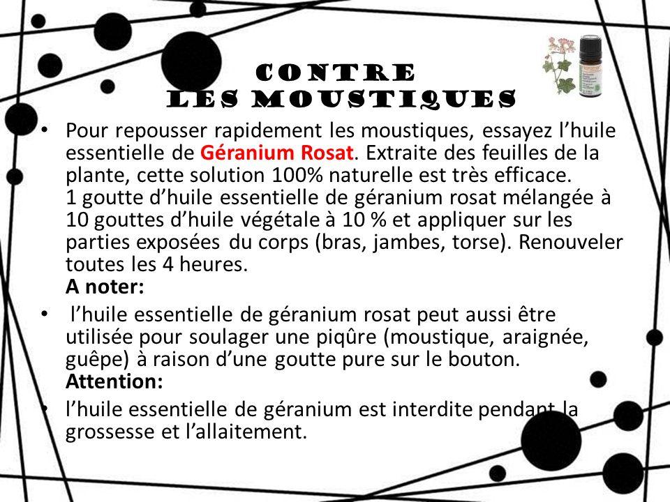 Contre les Moustiques Pour repousser rapidement les moustiques, essayez lhuile essentielle de Géranium Rosat. Extraite des feuilles de la plante, cett