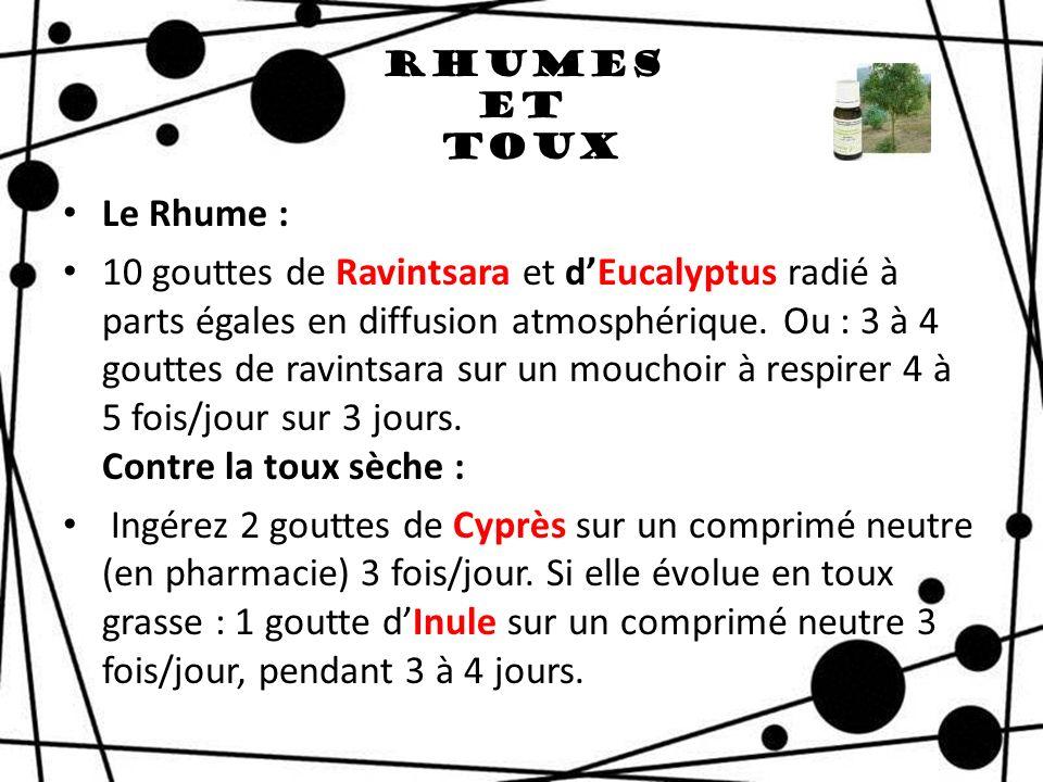 Rhumes et Toux Le Rhume : 10 gouttes de Ravintsara et dEucalyptus radié à parts égales en diffusion atmosphérique. Ou : 3 à 4 gouttes de ravintsara su