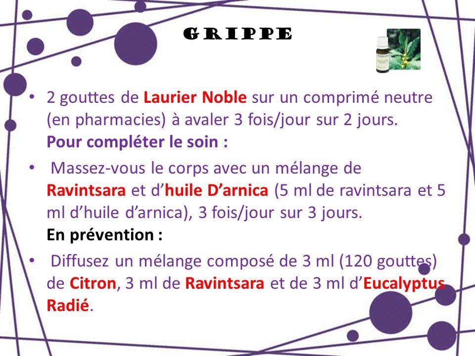 Grippe 2 gouttes de Laurier Noble sur un comprimé neutre (en pharmacies) à avaler 3 fois/jour sur 2 jours. Pour compléter le soin : Massez-vous le cor