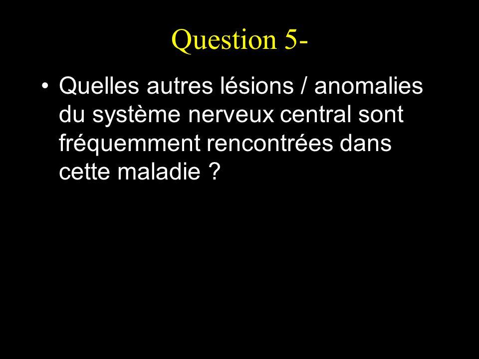Question 5- Quelles autres lésions / anomalies du système nerveux central sont fréquemment rencontrées dans cette maladie ?