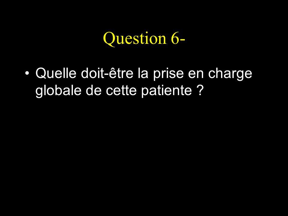 Question 6- Quelle doit-être la prise en charge globale de cette patiente ?