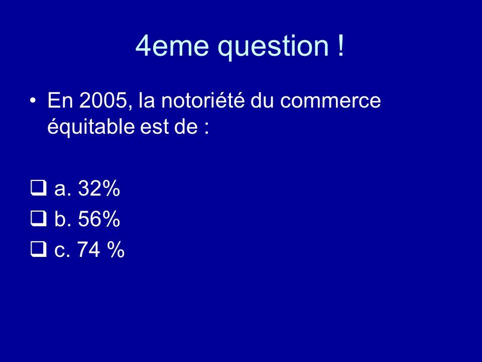 4eme question ! En 2005, la notoriété du commerce équitable est de : a. 32% b. 56% c. 74 %
