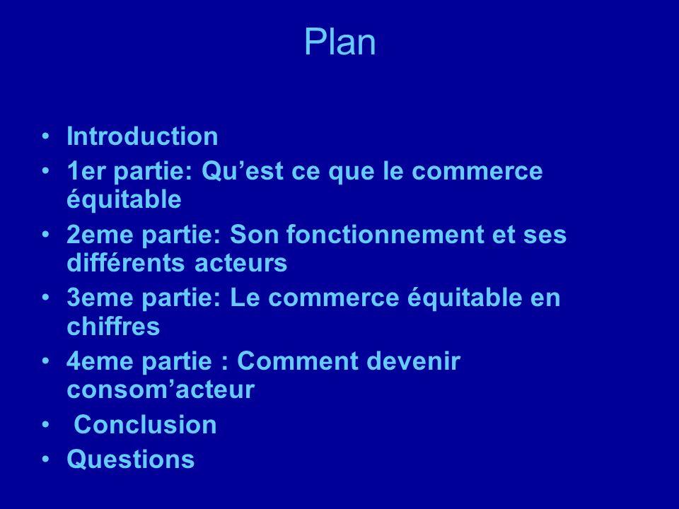 Plan Introduction 1er partie: Quest ce que le commerce équitable 2eme partie: Son fonctionnement et ses différents acteurs 3eme partie: Le commerce éq