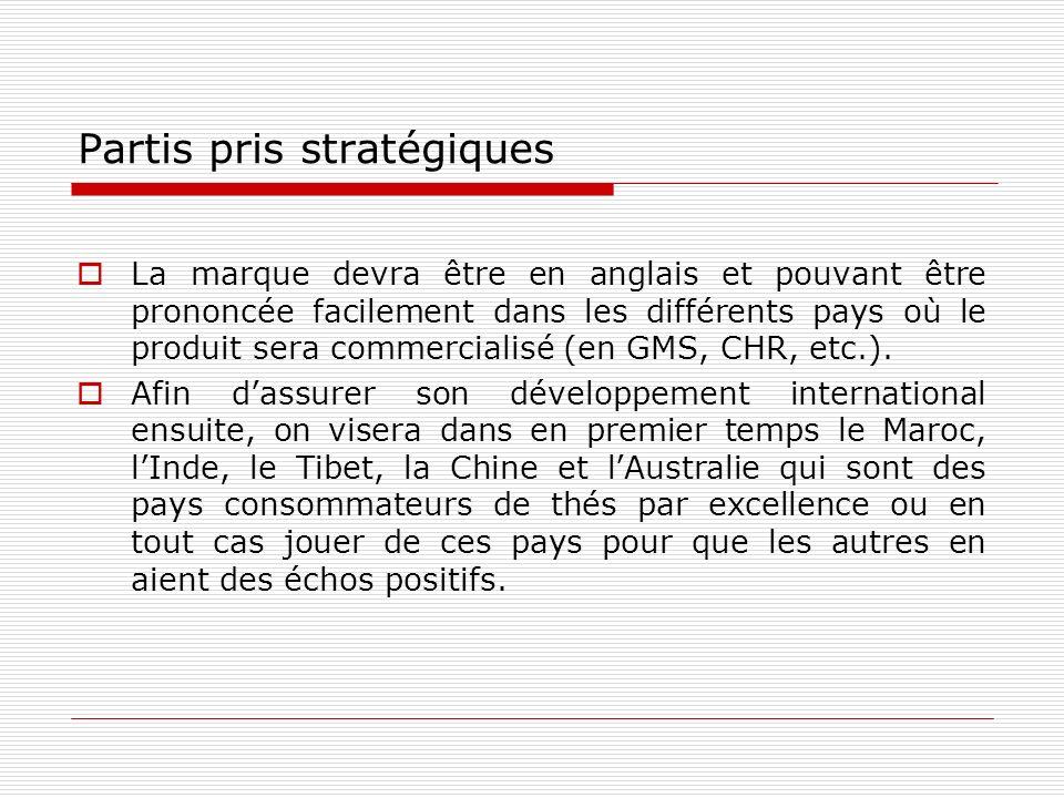 Partis pris stratégiques La marque devra être en anglais et pouvant être prononcée facilement dans les différents pays où le produit sera commercialisé (en GMS, CHR, etc.).