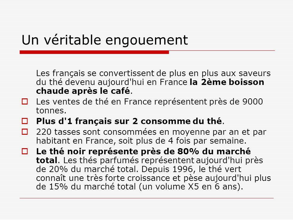 Un véritable engouement Les français se convertissent de plus en plus aux saveurs du thé devenu aujourd hui en France la 2ème boisson chaude après le café.