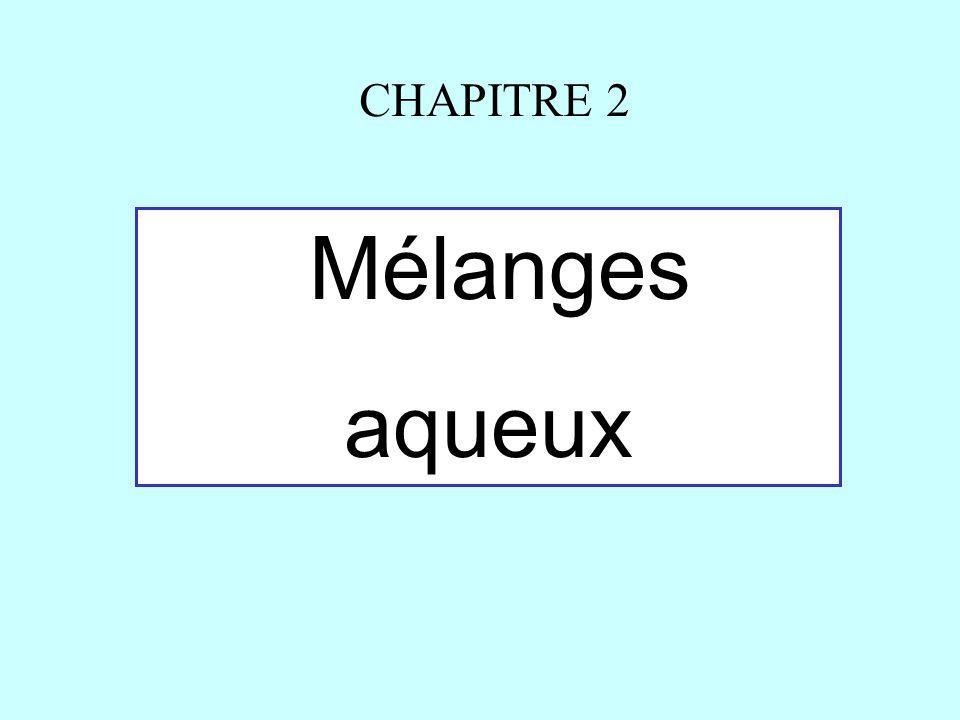 Mélanges aqueux CHAPITRE 2