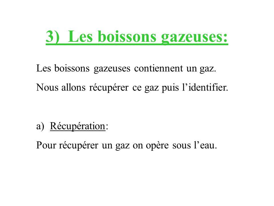 3) Les boissons gazeuses: Les boissons gazeuses contiennent un gaz. Nous allons récupérer ce gaz puis lidentifier. a)Récupération: Pour récupérer un g