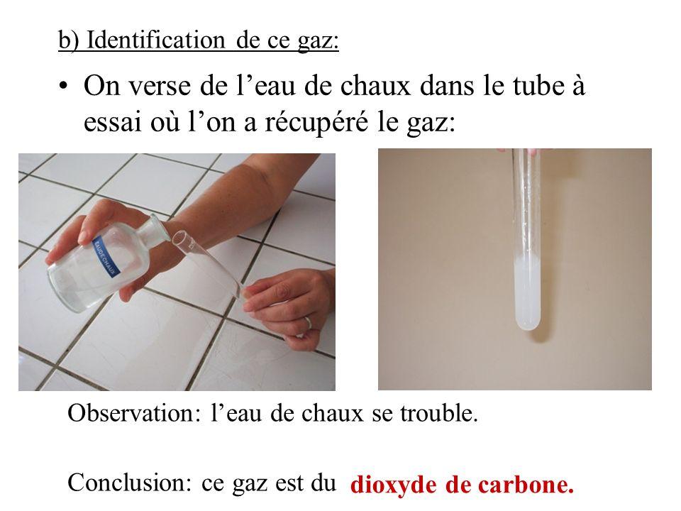 b) Identification de ce gaz: On verse de leau de chaux dans le tube à essai où lon a récupéré le gaz: Observation: leau de chaux se trouble. Conclusio