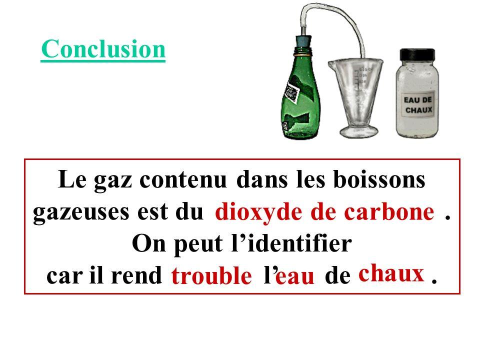 Conclusion Le gaz contenu dans les boissons gazeuses est du. On peut lidentifier car il rend l de. dioxyde de carbone eau chaux trouble