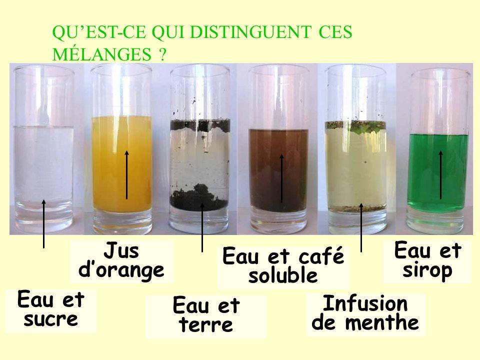 1) Deux types de mélanges eau douce eau salée fleuv e pluie Eau et sucre Eau et café soluble Eau et sirop a)Mélanges homogènes: On ne distingue pas les constituants du mélange.