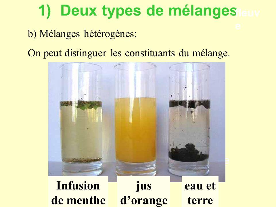 1) Deux types de mélanges a) Mélange hétérogène: eau douce eau salée fleuve pluie On peut distinguer les constituants du mélange.