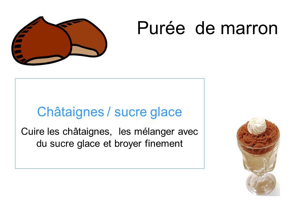Purée de marron Châtaignes / sucre glace Cuire les châtaignes, les mélanger avec du sucre glace et broyer finement