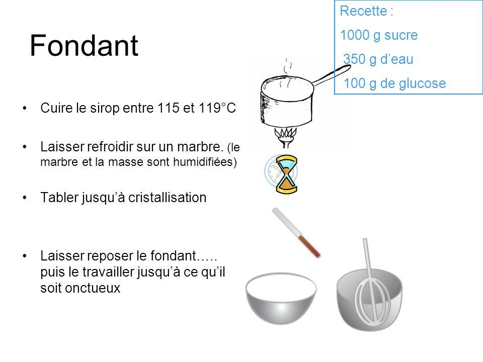 Fondant Cuire le sirop entre 115 et 119°C Laisser refroidir sur un marbre. (le marbre et la masse sont humidifiées) Tabler jusquà cristallisation Lais