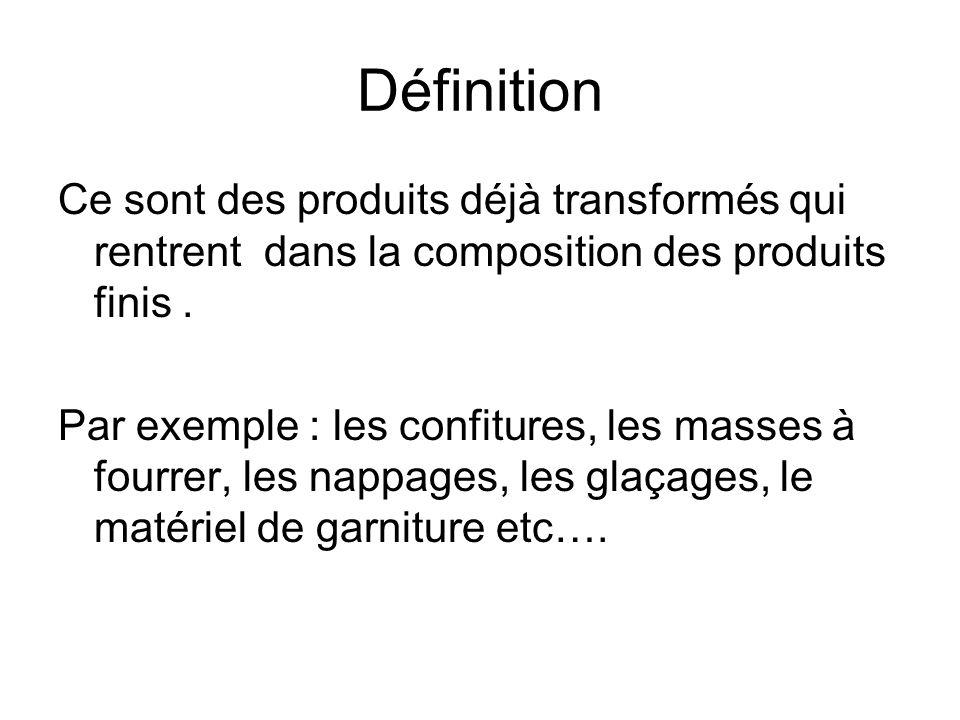 Définition Ce sont des produits déjà transformés qui rentrent dans la composition des produits finis. Par exemple : les confitures, les masses à fourr