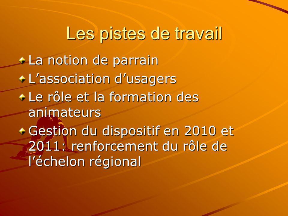 Les pistes de travail La notion de parrain Lassociation dusagers Le rôle et la formation des animateurs Gestion du dispositif en 2010 et 2011: renforc
