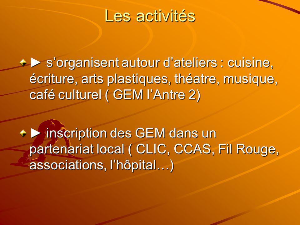 Les activités sorganisent autour dateliers : cuisine, écriture, arts plastiques, théatre, musique, café culturel ( GEM lAntre 2) sorganisent autour da