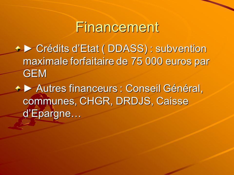 Financement Crédits dEtat ( DDASS) : subvention maximale forfaitaire de 75 000 euros par GEM Crédits dEtat ( DDASS) : subvention maximale forfaitaire