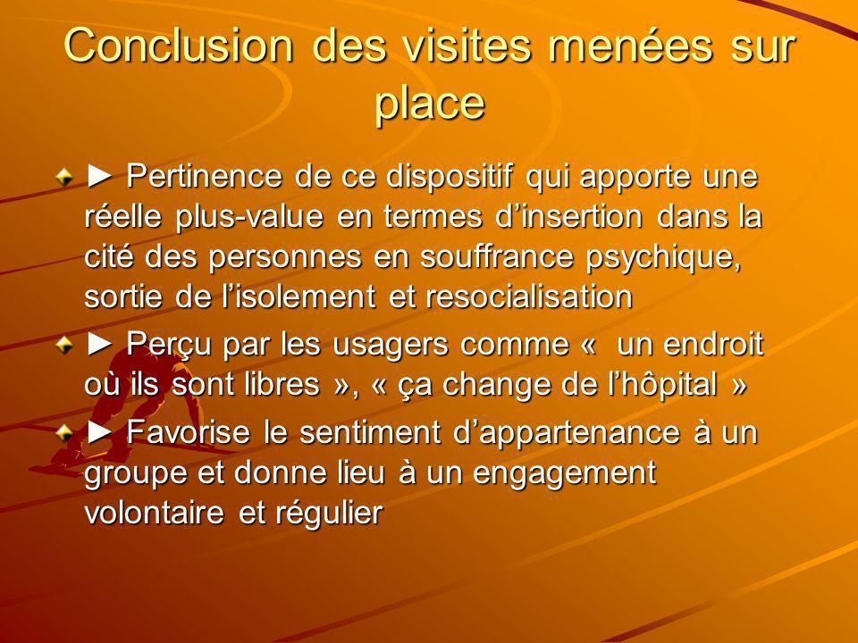 Conclusion des visites menées sur place Pertinence de ce dispositif qui apporte une réelle plus-value en termes dinsertion dans la cité des personnes