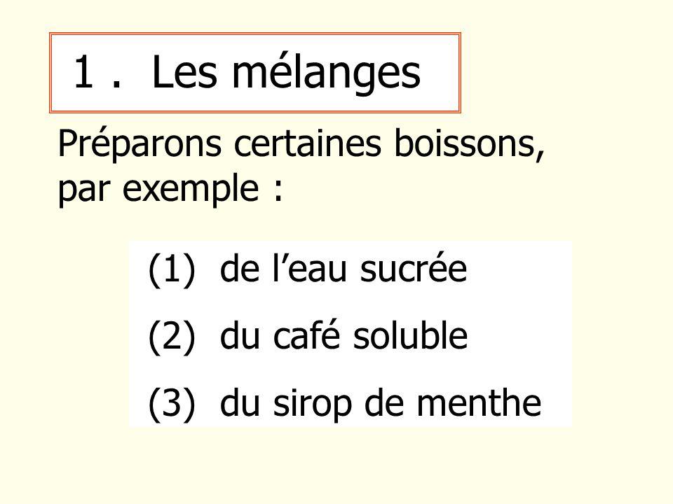 1. Les mélanges Préparons certaines boissons, par exemple : (1) de leau sucrée (2) du café soluble (3) du sirop de menthe
