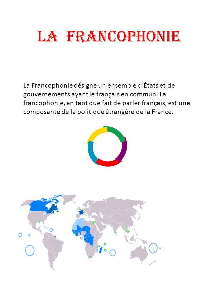 LA FRANCOPHONIE La Francophonie désigne un ensemble d'États et de gouvernements ayant le français en commun. La francophonie, en tant que fait de parl