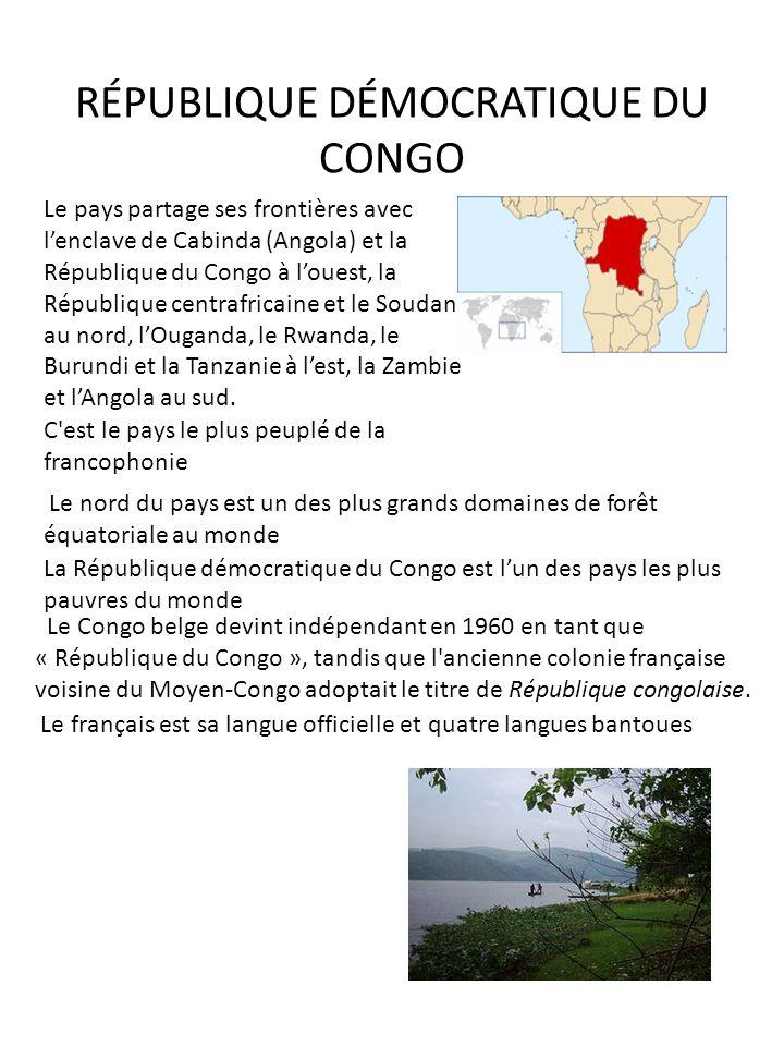 RÉPUBLIQUE DÉMOCRATIQUE DU CONGO Le pays partage ses frontières avec lenclave de Cabinda (Angola) et la République du Congo à louest, la République ce