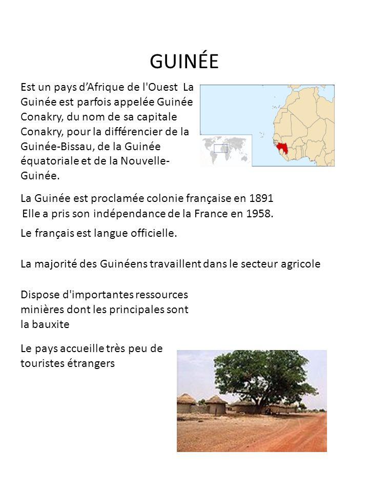 GUINÉE Est un pays dAfrique de l'Ouest La Guinée est parfois appelée Guinée Conakry, du nom de sa capitale Conakry, pour la différencier de la Guinée-