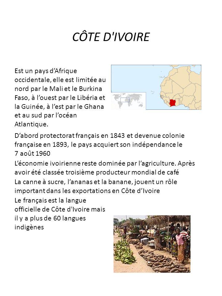 CÔTE D'IVOIRE Est un pays dAfrique occidentale, elle est limitée au nord par le Mali et le Burkina Faso, à louest par le Libéria et la Guinée, à lest