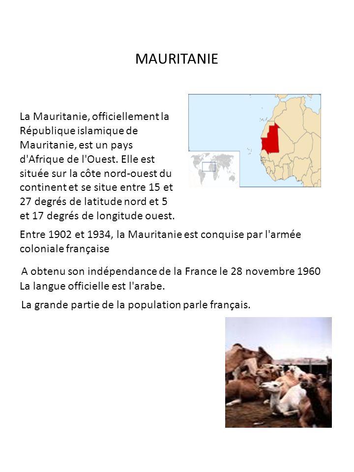 La Mauritanie, officiellement la République islamique de Mauritanie, est un pays d'Afrique de l'Ouest. Elle est située sur la côte nord-ouest du conti