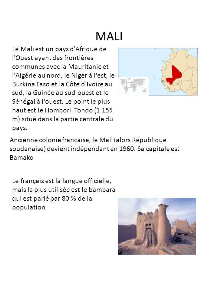 MALI Le Mali est un pays d'Afrique de l'Ouest ayant des frontières communes avec la Mauritanie et l'Algérie au nord, le Niger à l'est, le Burkina Faso