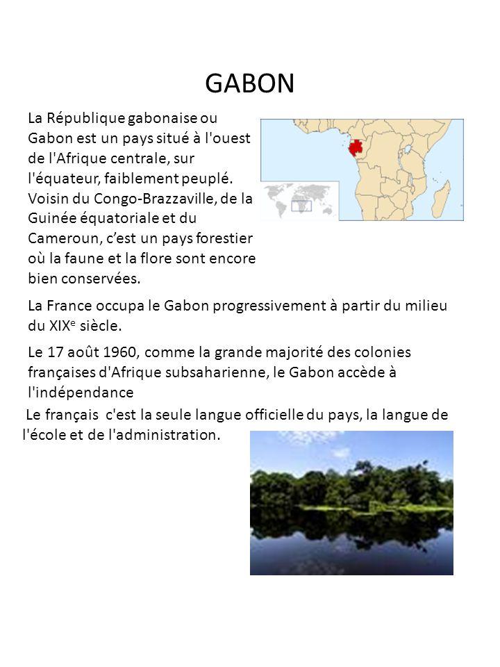 GABON La République gabonaise ou Gabon est un pays situé à l'ouest de l'Afrique centrale, sur l'équateur, faiblement peuplé. Voisin du Congo-Brazzavil