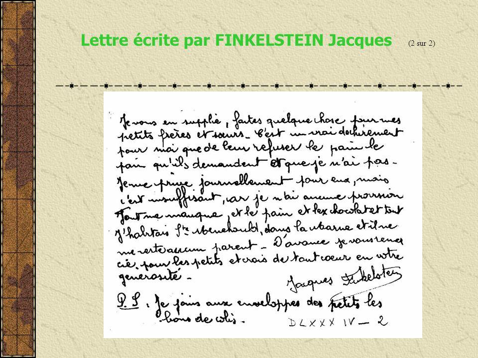 Lettre écrite par FINKELSTEIN Jacques (1 sur 2)