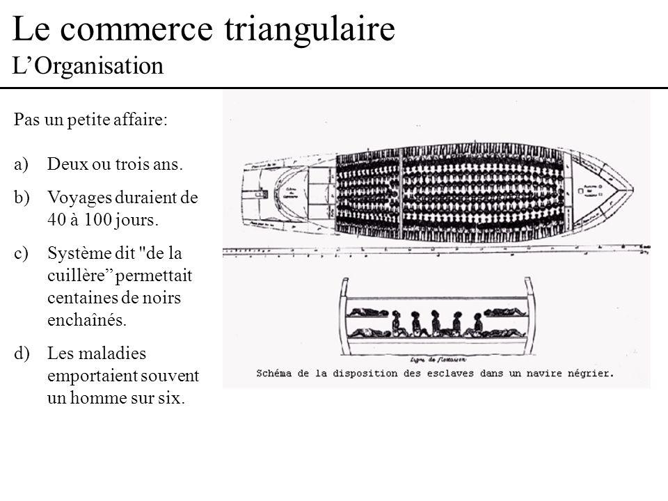 Le commerce triangulaire LOrganisation Pas un petite affaire: a)Deux ou trois ans.