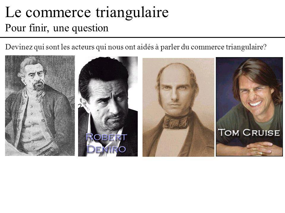 Le commerce triangulaire Pour finir, une question Devinez qui sont les acteurs qui nous ont aidés à parler du commerce triangulaire?