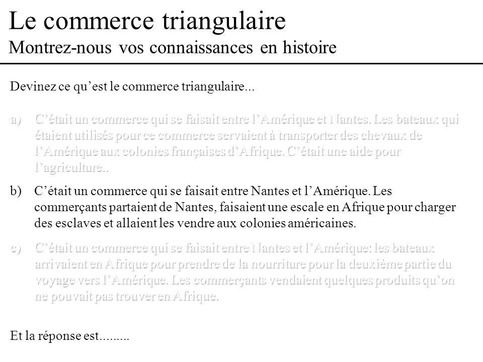 Le commerce triangulaire Introduction Nantes Afrique Noire Tissus, verroterie, eau de vie