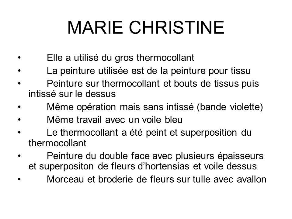 MARIE CHRISTINE Elle a utilisé du gros thermocollant La peinture utilisée est de la peinture pour tissu Peinture sur thermocollant et bouts de tissus