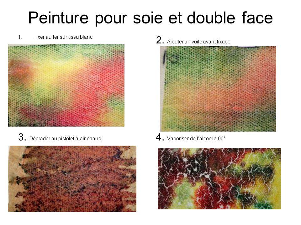 Peinture pour soie et double face 1.Fixer au fer sur tissu blanc 2. Ajouter un voile avant fixage 3. Dégrader au pistolet à air chaud 4. Vaporiser de
