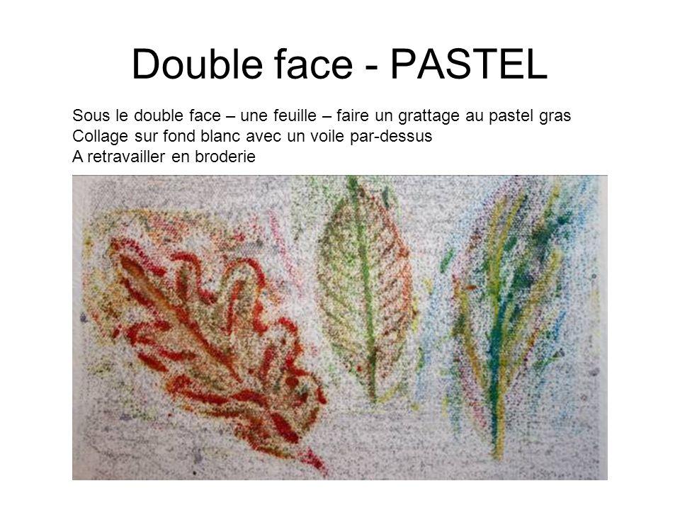 Double face - PASTEL Sous le double face – une feuille – faire un grattage au pastel gras Collage sur fond blanc avec un voile par-dessus A retravaill